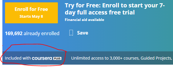 Included with coursera plus